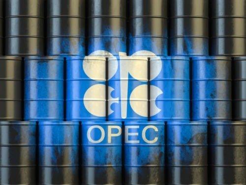 Oil barrels with OPEC symbol.