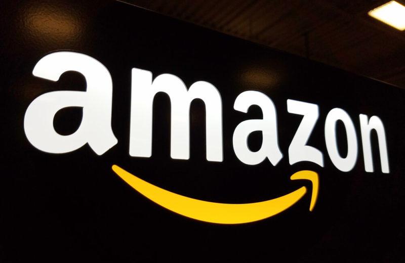 Amazon logo with black background.