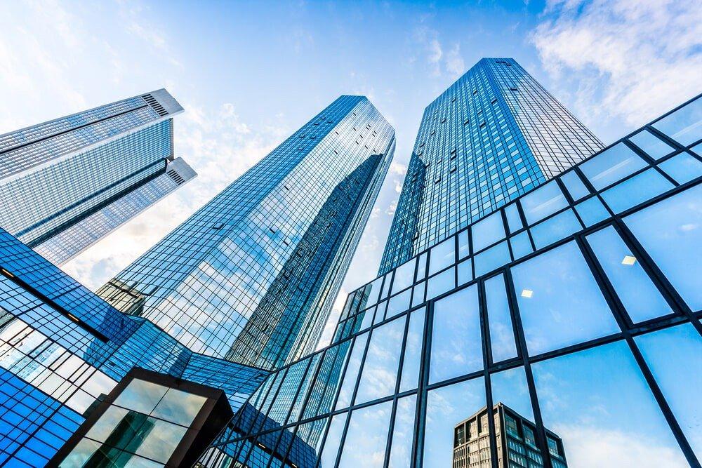 Bottom view of Deutsche Bank Twin Towers