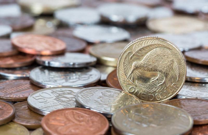 NZ: New Zealand dollar coins money.