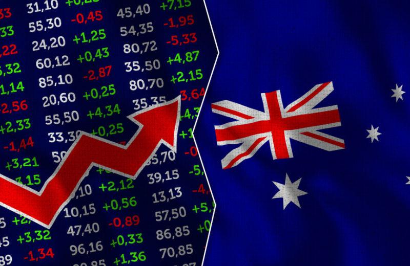 Finance, Stock Market, Stock Exchange with Australia flag