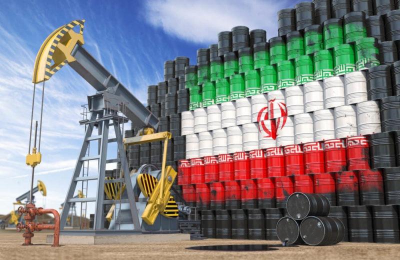 iran flag on crude barrels