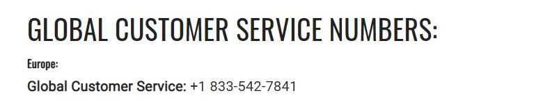 Global customer service numbers