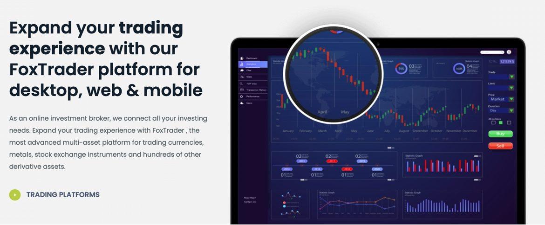 The trading platform at Foxane.com